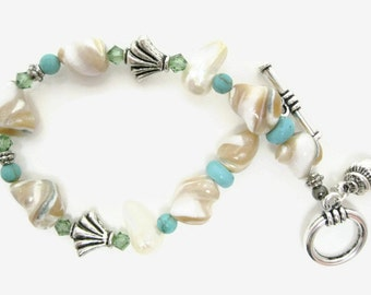 Mother of Pearl Beaded Bracelet shell nuggets beadwork howlite turquoise stone Swarovski peridot crystal summer toggle bracelet