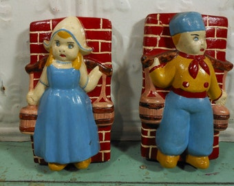Vintage Dutch Girl and Boy Chalkware Plaques Red Brick