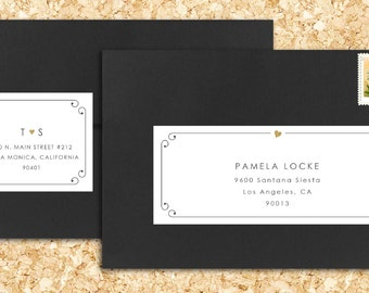 25 PRINTED Personalized Wraparound Mailing Address Labels - heart wedding, curly. gold foil, cursive, love, forever, initials, traditional