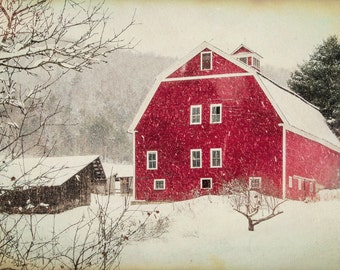 The Red Barn - Christmas scenery , Antique Barn, winter , snow photography, landscape, nature, old barn, fine art print