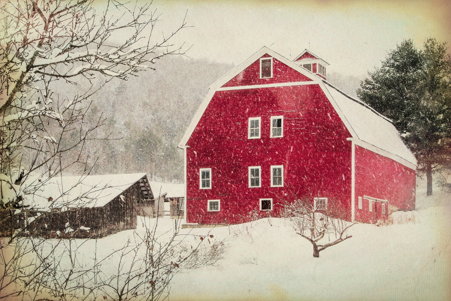 The Red Barn Christmas Scenery Antique Barn Winter Snow