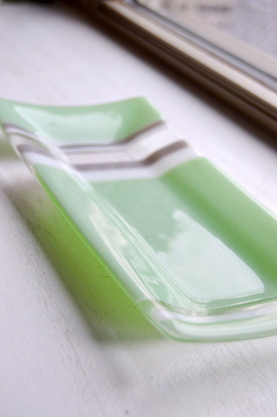 Glass fused 5x10 sushi dish/plate in mint green glass with grey and white stripes