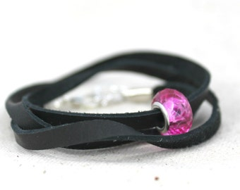 Black Leather Convertible Wrap Bracelet with Filigree Heart Bead / Gifts under 15 / Urban Valentine