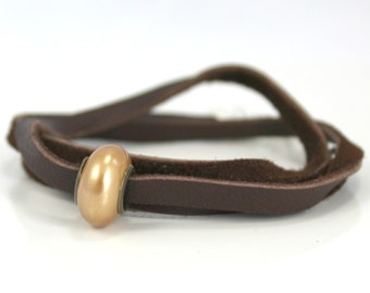 Chocolate Brown Leather Convertible Wrap Bracelet with Gold Pearl Bead / Gifts under 15 / Urban Valentine