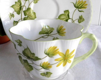Shelley China Dainty Celandine Cup and Saucer Yellow Botanical Teacup Afternoon Tea