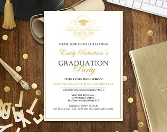 Graduation invitation template gangcraft graduation announcement template etsy quinceanera invitations pronofoot35fo Images