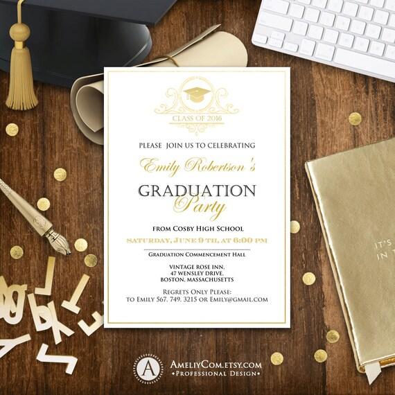 graduation party checklist template - graduation announcement printable gold college graduation