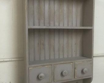 French country wall shelf, cottage chic shelf, shaker shelf,kitchen shelf,antique style wall shelf,Primitive shelf with drawers,bath cabinet
