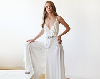 Bridal Ivory jumpsuit wide pants, Wedding formal jumpsuit