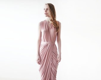 Pink wrap gown , Pink maxi formal tulip dress , Sleeveless summer maxi gown