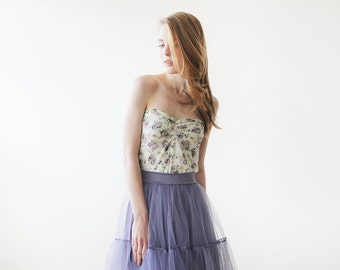 Floral lace Strapless stretchy top- purple flowers