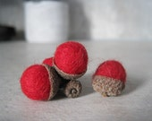 Wool Acorns felted red eco Norwegian nature woodland decor fall winter christmas gift