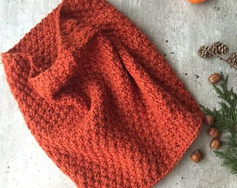 Knit Infinity Scarf Chunky Circle Scarf Loop Scarf Infinity Scarf Knit Cowl Wrap Warmer Knit Cowl Lurex Rust Orange