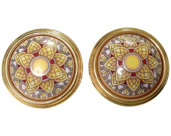 Vintage Hermes round shape cloisonne enamel golden earrings with mosaic flower design in yellow, gold, and red. Great gift idea