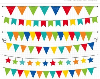 50% OFF SALE Bunting - Primary Colored Bunting / Birthday Party Banner Flags Clip Art / Digital Clipart - Instant Download