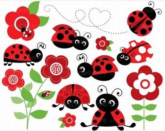 Clipart - Ladybug Garden (Red) / Ladybird - Digital Clip Art (Instant Download)