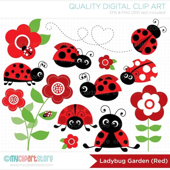 Clipart Ladybug Garden Red / Ladybird Digital Clip Art