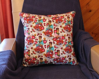 Mexican Senorita print cushion cover 45cm X 45cm 100% cotton hand made