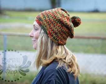 ALL SIZES Fall/Autumn Crochet Slouchy Pom Beanie