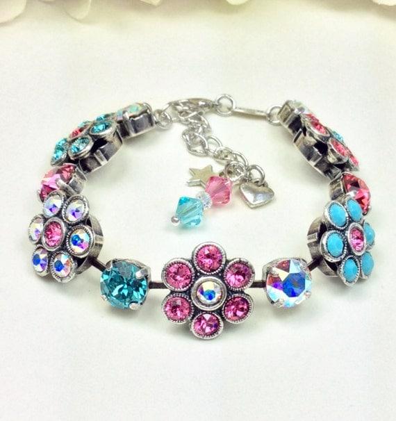 Swarovski Crystal Flowers Bracelet -  Fun & Happy - Multi - Colored Spring Flowers - Wrist Candy - Designer Inspired - FREE SHIPPING