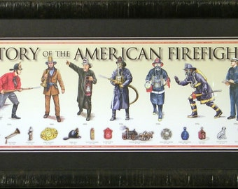 History of the American Firefighter Framed