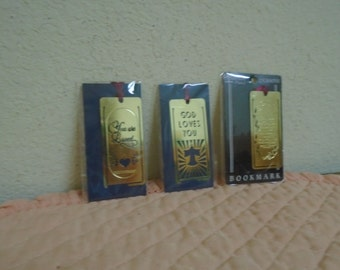 Three Religious Book Markers! Beautiful Sayings / Gold Plated / Great Stocking Stuffers  REDUCED