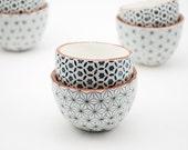 Set of Two Ceramic Bowls - Pottery Bowls - Ceramic Pinch Pots - Spice Bowls - Salt and Pepper Bowls