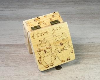 ring bearer box ring bearer pillow alternative wedding ring box ring box ring box wedding rustic ring box ring holder owls  Personalized