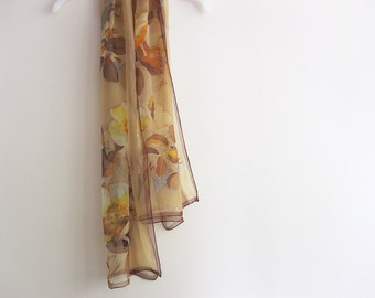 Beige silk chiffon scarf hand painted Botanical wearable art - ready to ship