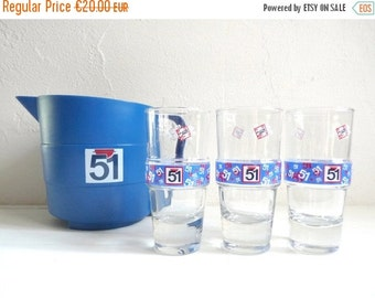 """Sale 50 % Off Vintage French PASTIS 51 PITCHER, A Blue Plastic, Bistro Carafe with 3 Assorted Glasses, Series: """" Bodega """"."""