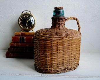 Vintage OVAL WICKER BOTTLE, Green Glass, Small, Covered Water Bottle with Cork, Contains 2 liter.