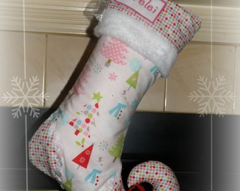 Christmas stocking with personalized name tag