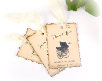 Custom Favor Tags, Baby Shower Favor Tags, Thank You Tags, Stoller, Travel Baby Shower, Gender Neutral, Personalized Tags, Set of 12