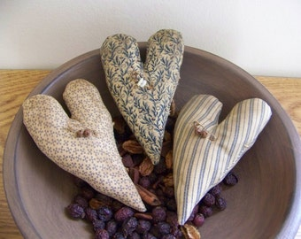 Primitive Heart Bowl Fillers In Blue Civil War Reproduction Fabrics Valentine