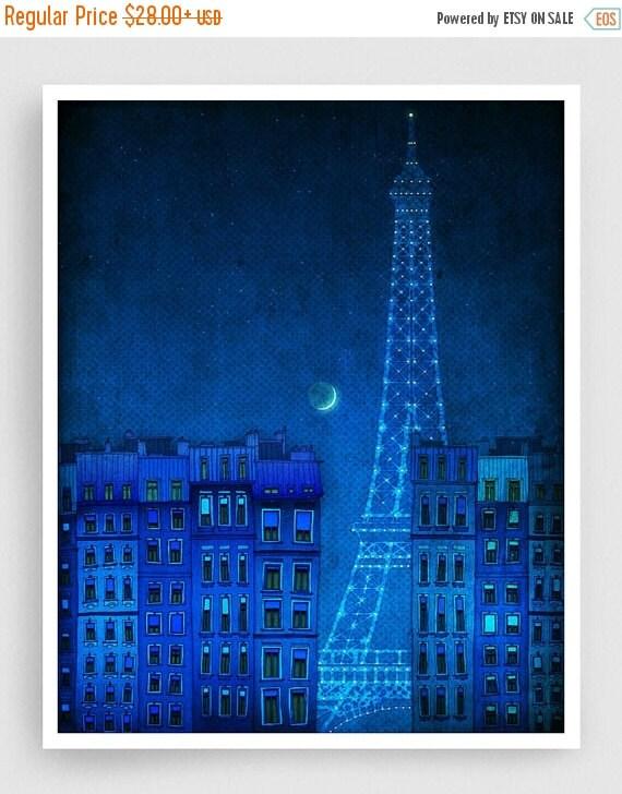 20% OFF SALE: The lights of the Eiffel tower - Paris illustration Art illustration Art Poster Wall art Paris Home decor Living room art Blue
