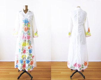 Vintage 70s Dress / Embroidered Maxi Dress / Bohemian Wedding / Pastel Floral Embroidery