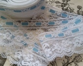 2 yds Vintage Southern Belle White and Blue Luxurious Lace Trim