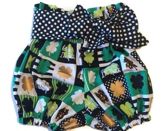 Girls Babies Toddlers High Waist Bloomers Boutique Style Clover Lucky Gold with Belt/Headwrap