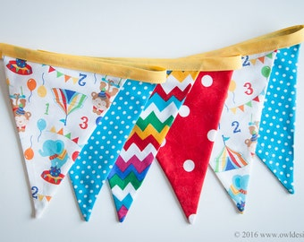 Animal Circus banner for your smash the cake decor, Fabric Bunting,  Flags, Bunting, Pennant Banner, cake smash