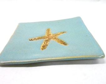 Pottery Starfish Plate Pottery Soap Dish Ceramic Spoon Rest Beach Pottery Marine Life Pottery Unglazed Starfish Impression in Blue