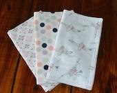 BurpCloths: Ballerina, Pink, Gray and Navy Dot