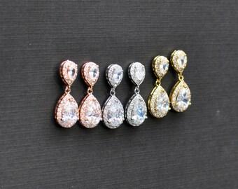 Crystal Teardrop Earrings, Crystal Bridal Drop Earrings, Bridal Jewelry, Bridesmaid Earrings