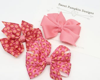Hair Bow. Girls Pinwheel Clips.  Pink and Coral Bow. Coral Pinwheel. Pink Flower Bow. Pink Clip. Barrette. Toddler Hair Accessory HC1255