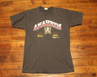 Anaheim Mighty Ducks shirt - 1993 vintage pinstriped NHL hockey tshirt - Large