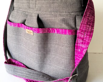 Stone Grey Diaper Bag with Fuchsia Feather  Lining and Zipper Top