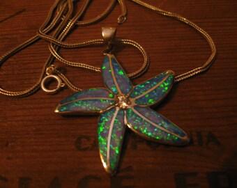 Vintage necklace pendant opal starfish blue opal star