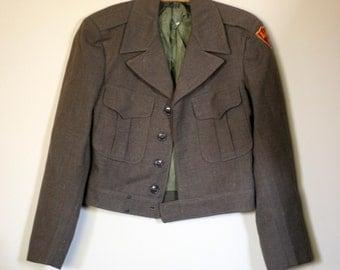 vintage cropped military ike jacket drab green wool