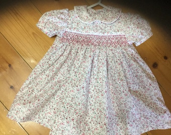 Smocked baby dress size 3-6months Hand made New
