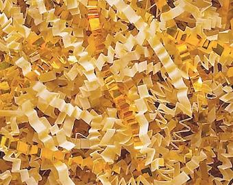 Crinkle Cut Paper Shred- Basket Filler- French Vanilla/Gold Mix