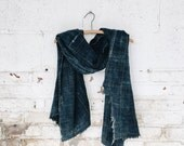 Vintage African Indigo Textile Throw Blanket- Denim Blue